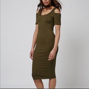 TOPSHOP Cold Shoulder Ribbed Midi dress 8